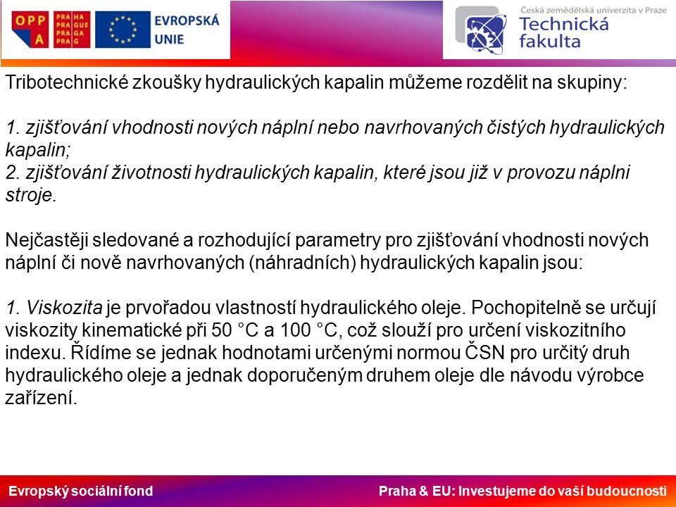 Evropský sociální fond Praha & EU: Investujeme do vaší budoucnosti Tribotechnické zkoušky hydraulických kapalin můžeme rozdělit na skupiny: 1. zjišťov