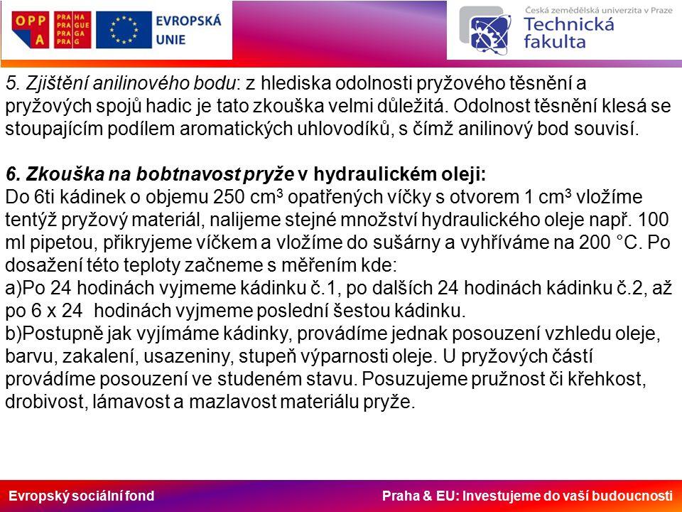 Evropský sociální fond Praha & EU: Investujeme do vaší budoucnosti 5. Zjištění anilinového bodu: z hlediska odolnosti pryžového těsnění a pryžových sp
