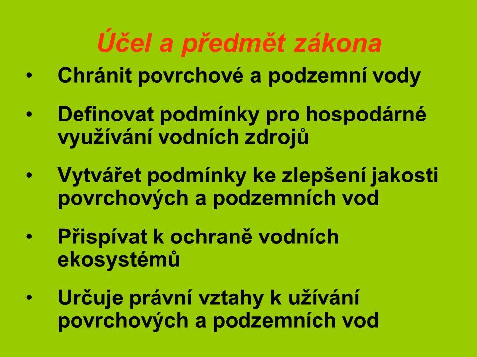 Vývoj legislativy Zákon vychází z předpisů ES - - Směrnice 2000/ES/EHS - - Směrnice 2006/11/ES - - Směrnice 88/347/EHS Související zákon č.