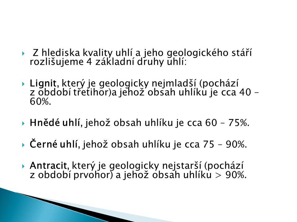  Z hlediska kvality uhlí a jeho geologického stáří rozlišujeme 4 základní druhy uhlí:  Lignit, který je geologicky nejmladší (pochází z období třetihor)a jehož obsah uhlíku je cca 40 – 60%.