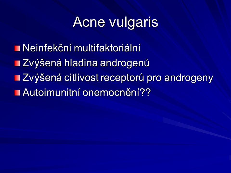 Acne vulgaris - patogeneze Proliferační hyperkeratosa - nadměrná tvorba mazu Retenční hyperkeratosa – ucpávání vývodů mazových žláz Kolonizace anaerobního mikroba Propionbacterium acnes Tvorba zánětlivých mediátorů