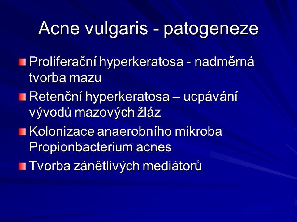 Acne vulgaris – zhoršující faktory Potraviny (ořechy, tuky, tučné sýry, koření) Zvýšené pocení ( fyzická zátěž, horečka) Sluneční záření Stres Mechanické dráždění ( čelenky, housle) Chemické látky (vazelína, lanolin, dehet, minerální oleje) Léky ( steroidy, vitamín B12, antiepileptika, psychofarmaka)