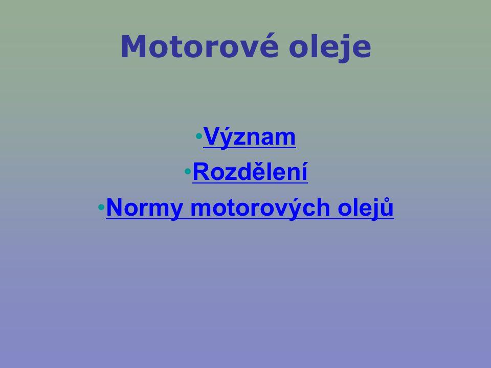 Motorové oleje Význam Rozdělení Normy motorových olejů
