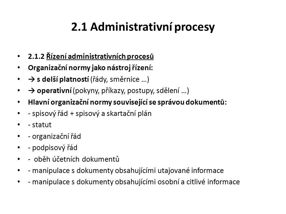 2.1 Administrativní procesy 2.1.2 Řízení administrativních procesů Organizační normy jako nástroj řízení: → s delší platností (řády, směrnice …) → operativní (pokyny, příkazy, postupy, sdělení …) Hlavní organizační normy související se správou dokumentů: - spisový řád + spisový a skartační plán - statut - organizační řád - podpisový řád - oběh účetních dokumentů - manipulace s dokumenty obsahujícími utajované informace - manipulace s dokumenty obsahujícími osobní a citlivé informace