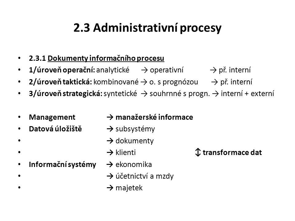 2.3 Administrativní procesy 2.3.1 Dokumenty informačního procesu 1/úroveň operační: analytické → operativní → př.