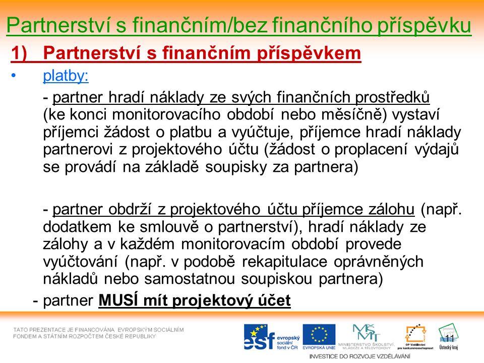 11 Partnerství s finančním/bez finančního příspěvku 1)Partnerství s finančním příspěvkem platby: - partner hradí náklady ze svých finančních prostředků (ke konci monitorovacího období nebo měsíčně) vystaví příjemci žádost o platbu a vyúčtuje, příjemce hradí náklady partnerovi z projektového účtu (žádost o proplacení výdajů se provádí na základě soupisky za partnera) - partner obdrží z projektového účtu příjemce zálohu (např.