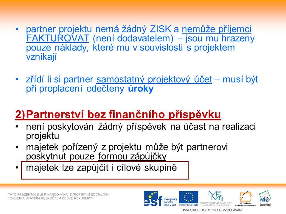 12 partner projektu nemá žádný ZISK a nemůže příjemci FAKTUROVAT (není dodavatelem) – jsou mu hrazeny pouze náklady, které mu v souvislosti s projektem vznikají zřídí li si partner samostatný projektový účet – musí být při proplacení odečteny úroky 2)Partnerství bez finančního příspěvku není poskytován žádný příspěvek na účast na realizaci projektu majetek pořízený z projektu může být partnerovi poskytnut pouze formou zápůjčky majetek lze zapůjčit i cílové skupině