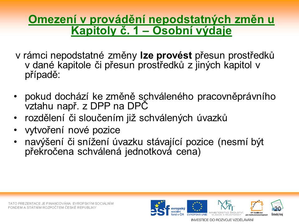20 Omezení v provádění nepodstatných změn u Kapitoly č.
