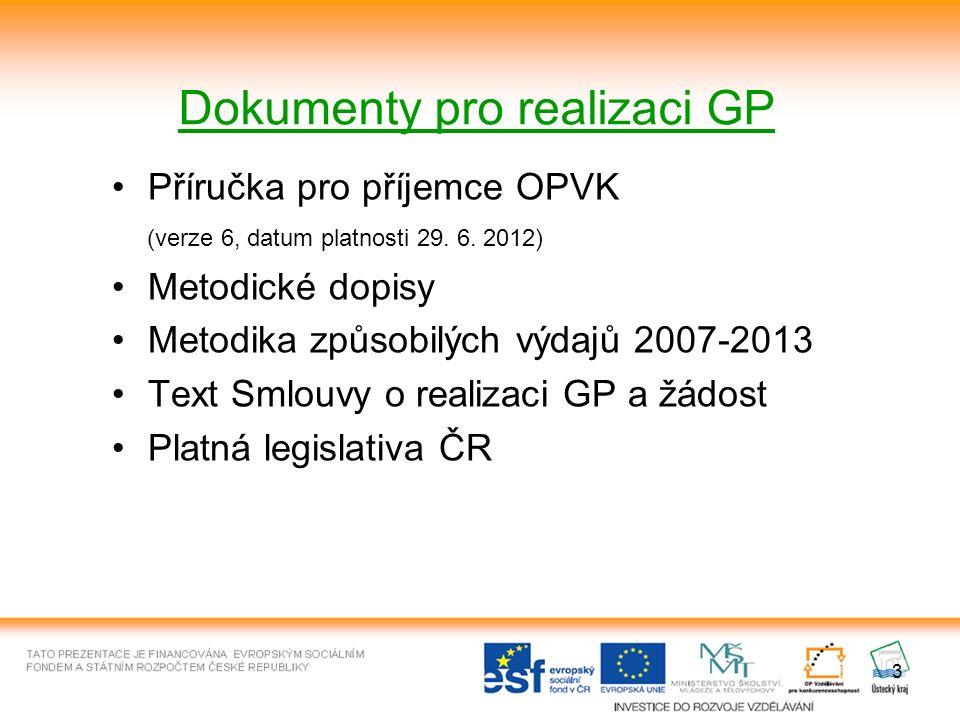 3 Dokumenty pro realizaci GP Příručka pro příjemce OPVK (verze 6, datum platnosti 29.