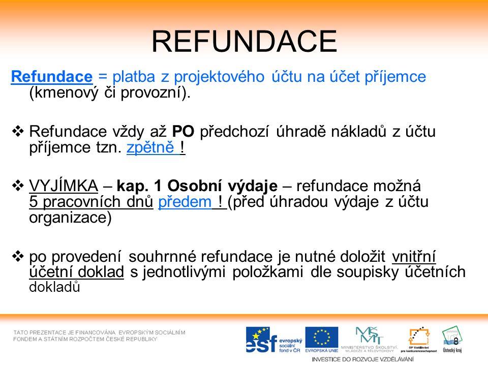 8 REFUNDACE Refundace = platba z projektového účtu na účet příjemce (kmenový či provozní).