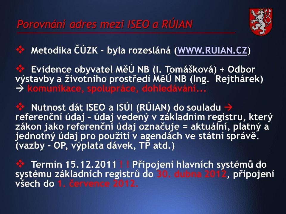 Porovnání adres mezi ISEO a RÚIAN  Metodika ČÚZK – byla rozesláná (WWW.RUIAN.CZ)WWW.RUIAN.CZ  Evidence obyvatel MěÚ NB (I.
