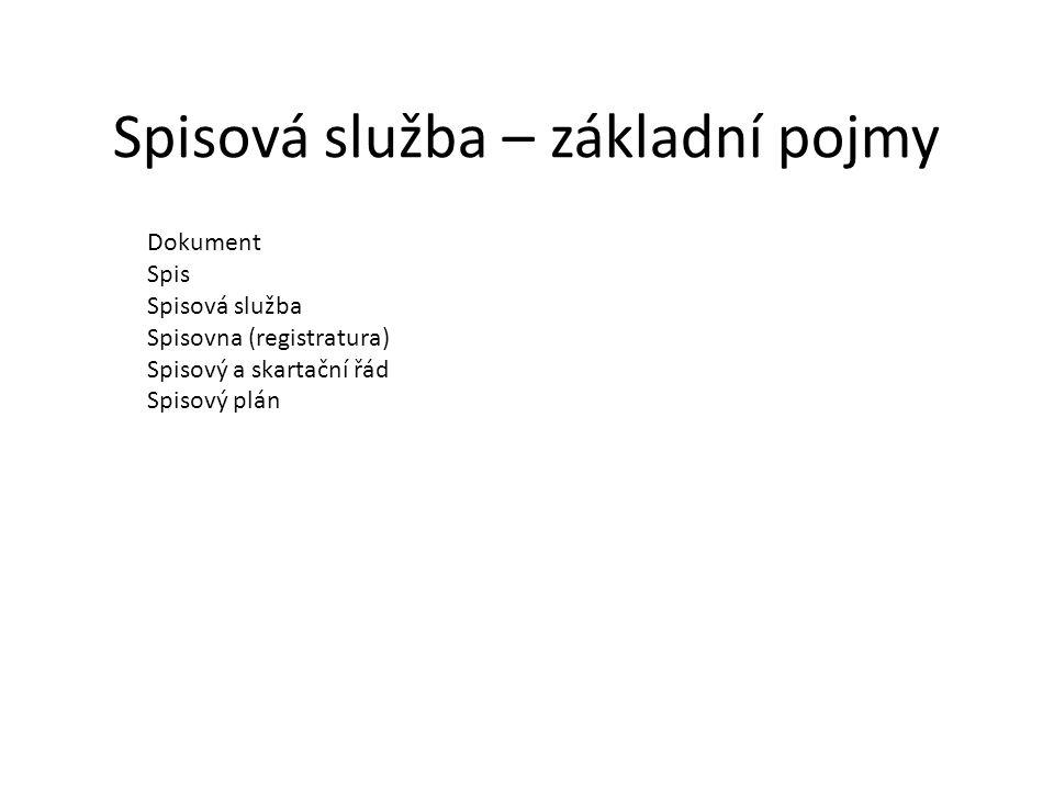 Spisová služba - legislativa Zákon č.499/2004 Sb.