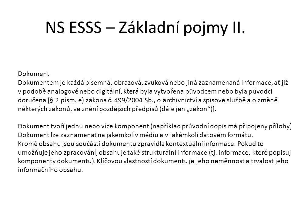 NS ESSS – Základní pojmy II. Dokument Dokumentem je každá písemná, obrazová, zvuková nebo jiná zaznamenaná informace, ať již v podobě analogové nebo d