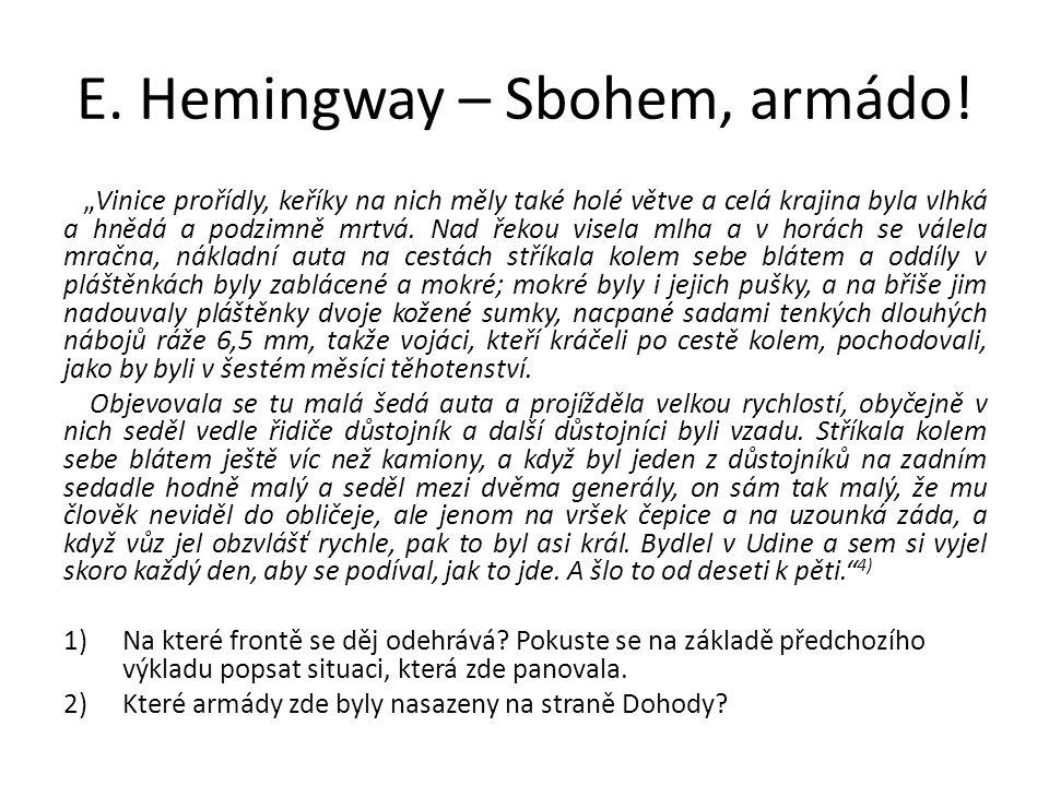 """E.Hemingway – Sbohem, armádo. """"V civilních šatech jsem se cítil jako na maškarním plese."""