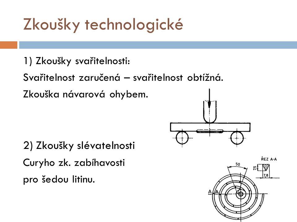 Zkoušky technologické 1) Zkoušky svařitelnosti: Svařitelnost zaručená – svařitelnost obtížná. Zkouška návarová ohybem. 2) Zkoušky slévatelnosti Curyho