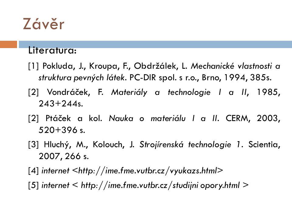 Závěr Literatura: [1] Pokluda, J., Kroupa, F., Obdržálek, L. Mechanické vlastnosti a struktura pevných látek. PC-DIR spol. s r.o., Brno, 1994, 385s. [