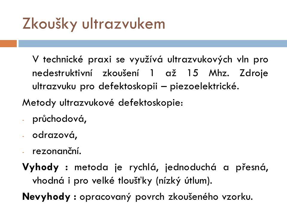 Zkoušky ultrazvukem V technické praxi se využívá ultrazvukových vln pro nedestruktivní zkoušení 1 až 15 Mhz.