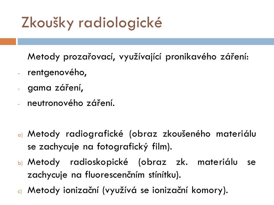 Zkoušky radiologické Metody prozařovací, využívající pronikavého záření: - rentgenového, - gama záření, - neutronového záření. a) Metody radiografické