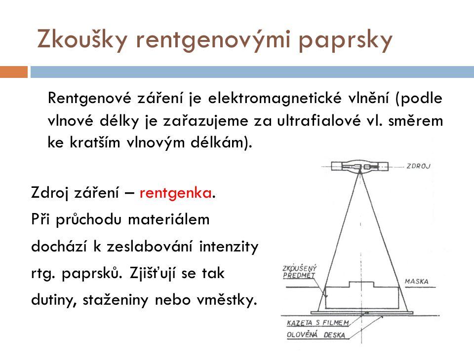 Zkoušky rentgenovými paprsky Rentgenové záření je elektromagnetické vlnění (podle vlnové délky je zařazujeme za ultrafialové vl. směrem ke kratším vln