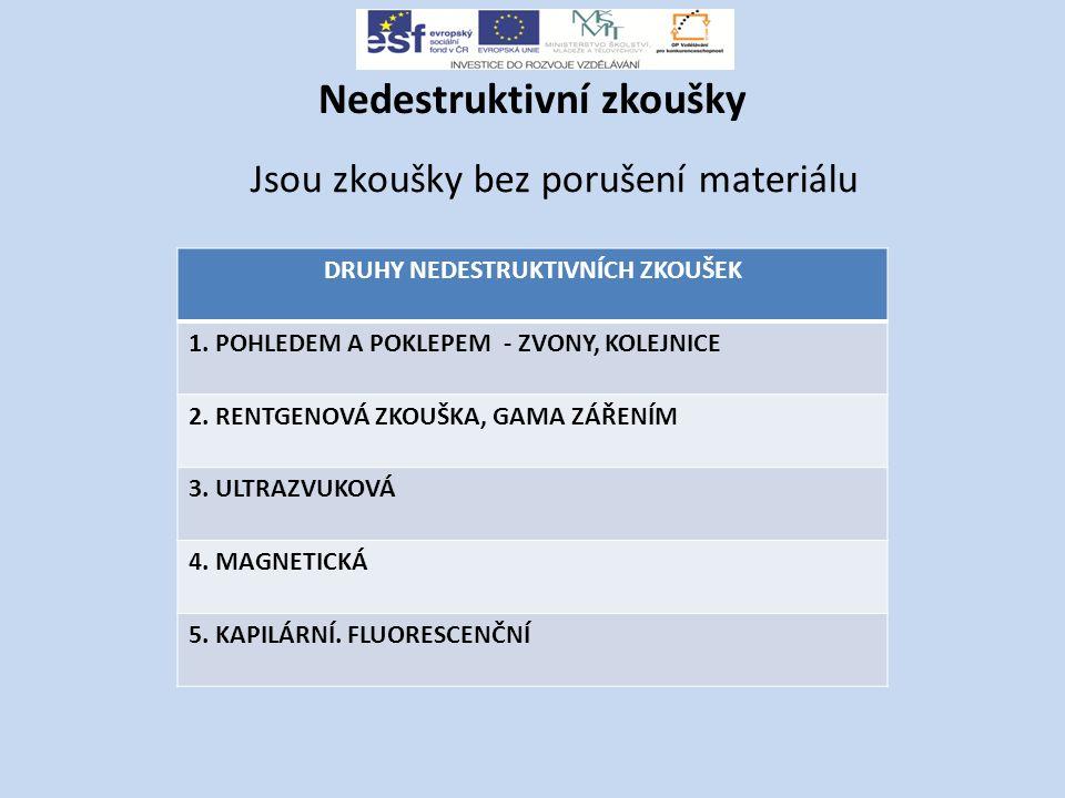 Nedestruktivní zkoušky Jsou zkoušky bez porušení materiálu DRUHY NEDESTRUKTIVNÍCH ZKOUŠEK 1.