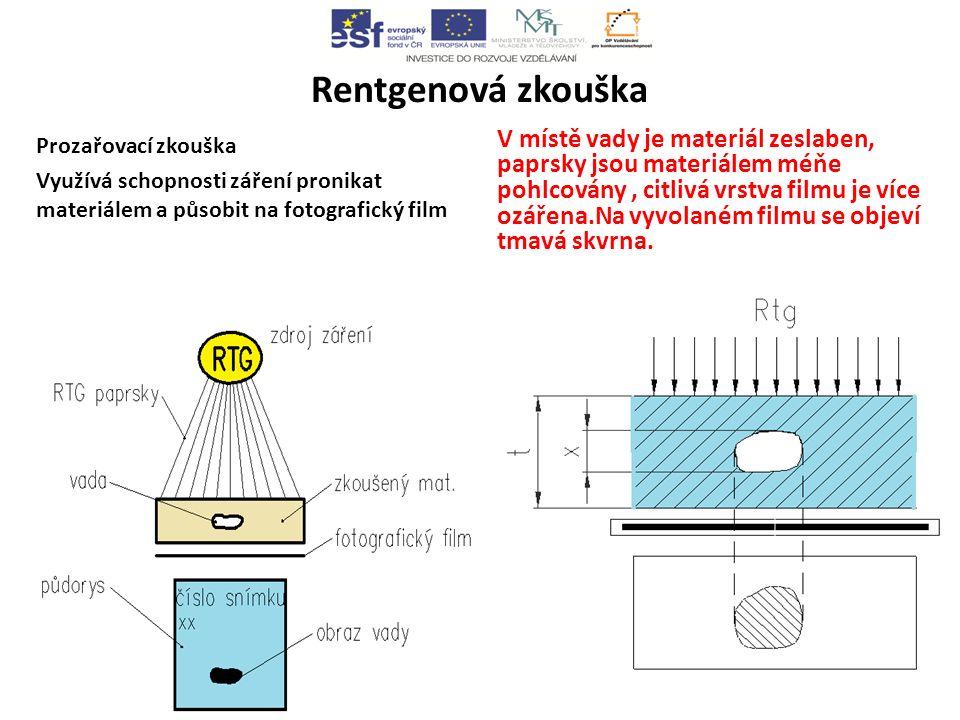 Rentgenová zkouška Prozařovací zkouška Využívá schopnosti záření pronikat materiálem a působit na fotografický film V místě vady je materiál zeslaben, paprsky jsou materiálem méňe pohlcovány, citlivá vrstva filmu je více ozářena.Na vyvolaném filmu se objeví tmavá skvrna.