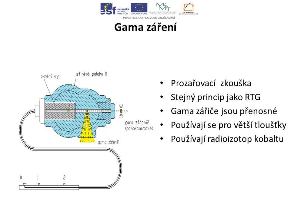 Gama záření Prozařovací zkouška Stejný princip jako RTG Gama zářiče jsou přenosné Používají se pro větší tloušťky Používají radioizotop kobaltu