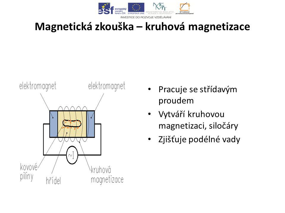 Magnetická zkouška – kruhová magnetizace Pracuje se střídavým proudem Vytváří kruhovou magnetizaci, siločáry Zjišťuje podélné vady