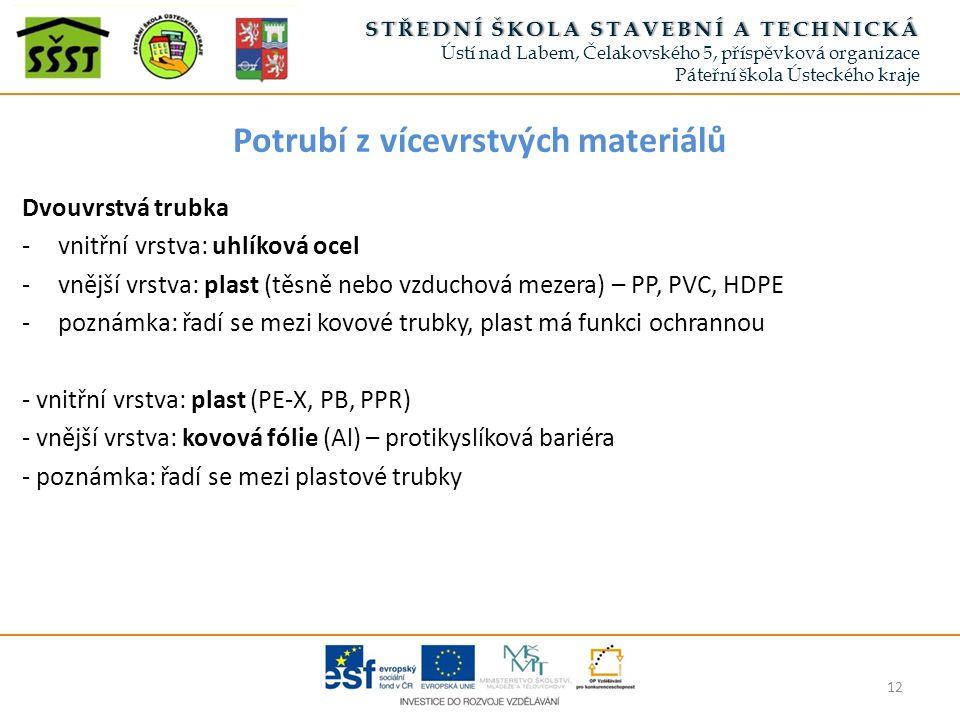 Potrubí z vícevrstvých materiálů Dvouvrstvá trubka -vnitřní vrstva: uhlíková ocel -vnější vrstva: plast (těsně nebo vzduchová mezera) – PP, PVC, HDPE