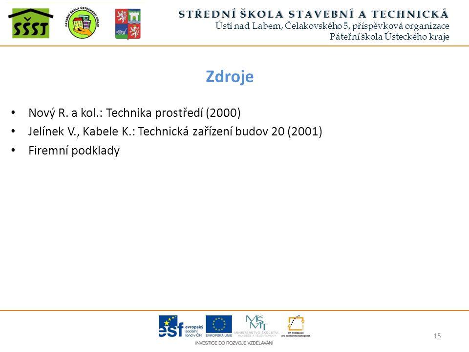 Zdroje Nový R. a kol.: Technika prostředí (2000) Jelínek V., Kabele K.: Technická zařízení budov 20 (2001) Firemní podklady 15 STŘEDNÍ ŠKOLA STAVEBNÍ