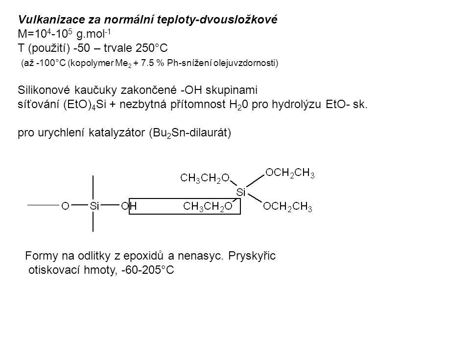 Vulkanizace za normální teploty-dvousložkové M=10 4 -10 5 g.mol -1 T (použití) -50 – trvale 250°C (až -100°C (kopolymer Me 2 + 7.5 % Ph-snížení olejuvzdornosti) Silikonové kaučuky zakončené -OH skupinami síťování (EtO) 4 Si + nezbytná přítomnost H 2 0 pro hydrolýzu EtO- sk.