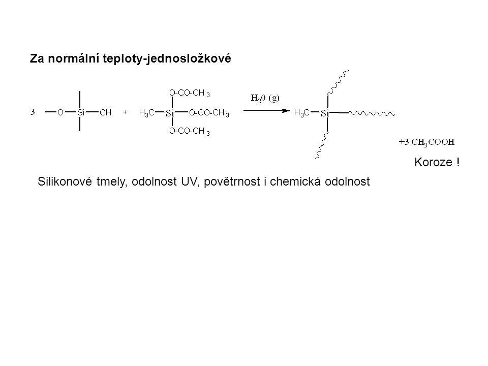Silikonové tmely, odolnost UV, povětrnost i chemická odolnost Za normální teploty-jednosložkové Koroze !