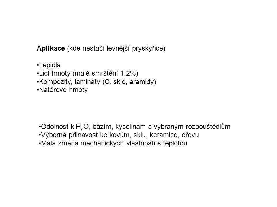 Aplikace (kde nestačí levnější pryskyřice) Lepidla Licí hmoty (malé smrštění 1-2%) Kompozity, lamináty (C, sklo, aramidy) Nátěrové hmoty Odolnost k H 2 O, bázím, kyselinám a vybraným rozpouštědlům Výborná přilnavost ke kovům, sklu, keramice, dřevu Malá změna mechanických vlastností s teplotou
