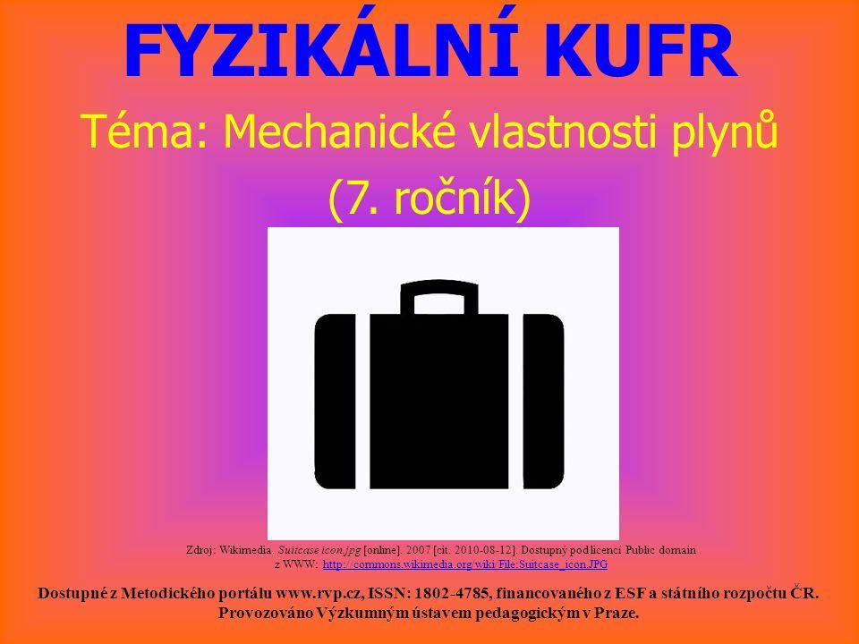 FYZIKÁLNÍ KUFR Téma: Mechanické vlastnosti plynů (7. ročník) Dostupné z Metodického portálu www.rvp.cz, ISSN: 1802-4785, financovaného z ESF a státníh