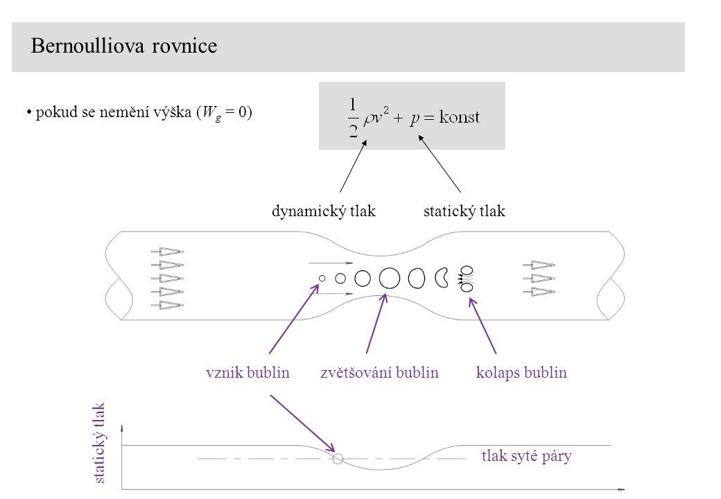 Bernoulliova rovnice pokud se nemění výška (W g = 0) dynamický tlakstatický tlak vznik bublinzvětšování bublinkolaps bublin statický tlak tlak syté páry