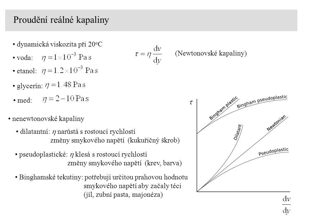Proudění reálné kapaliny voda: dynamická viskozita při 20 o C etanol: glycerín: med: nenewtonovské kapaliny (Newtonovské kapaliny) dilatantní:  narůstá s rostoucí rychlostí změny smykového napětí (kukuřičný škrob) pseudoplastické:  klesá s rostoucí rychlostí změny smykového napětí (krev, barva) Binghamské tekutiny: potřebují určitou prahovou hodnotu smykového napětí aby začaly téci (jíl, zubní pasta, majonéza)