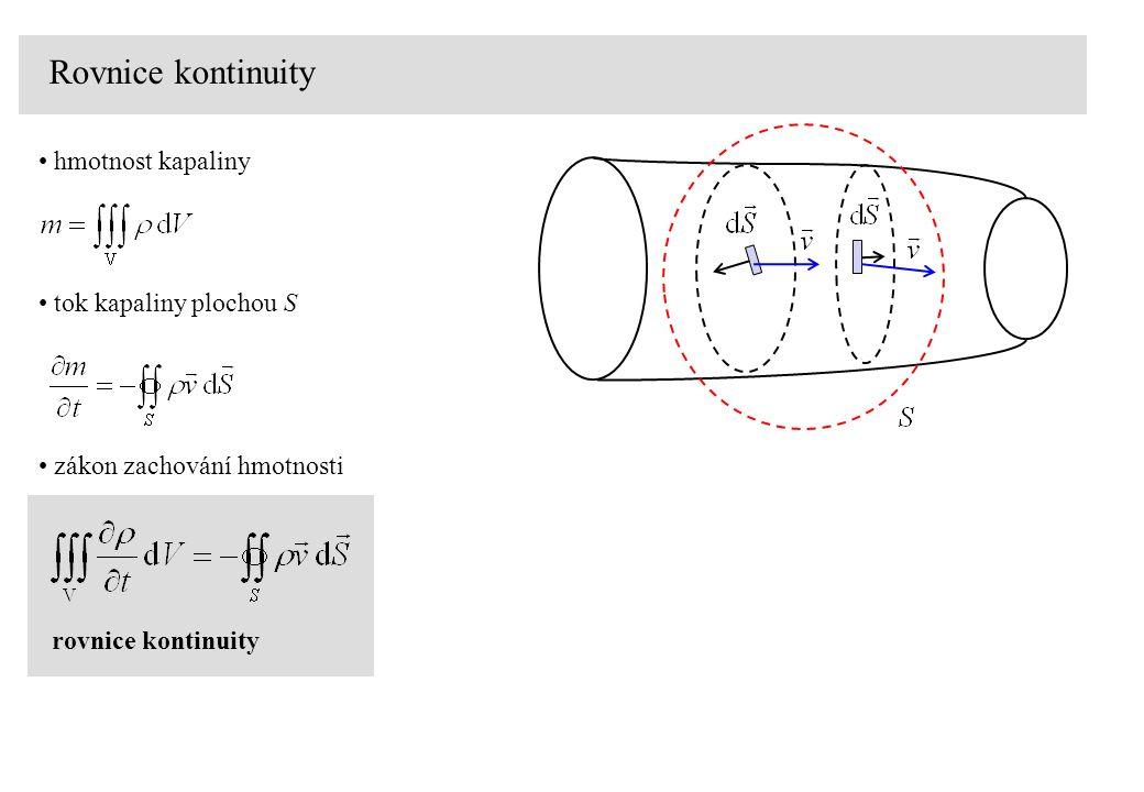 Rovnice kontinuity tok kapaliny plochou S hmotnost kapaliny zákon zachování hmotnosti rovnice kontinuity
