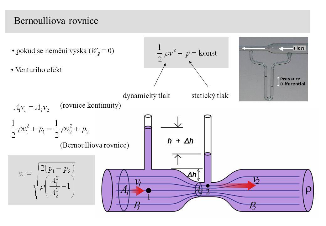 Bernoulliova rovnice pokud se nemění výška (W g = 0) dynamický tlak statický tlak Venturiho efekt (rovnice kontinuity) (Bernoulliova rovnice)