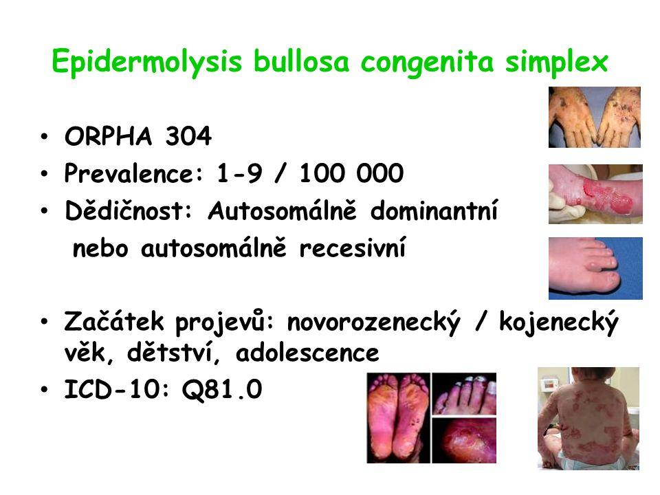 Epidermolysis bullosa congenita simplex ORPHA 304 Prevalence: 1-9 / 100 000 Dědičnost: Autosomálně dominantní nebo autosomálně recesivní Začátek projevů: novorozenecký / kojenecký věk, dětství, adolescence ICD-10: Q81.0