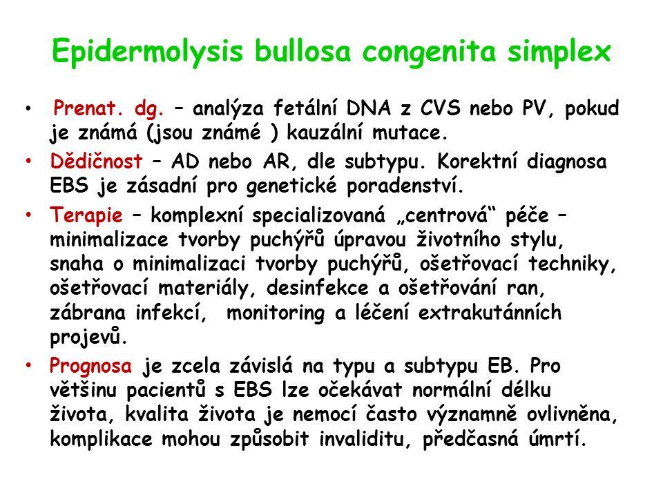 Epidermolysis bullosa congenita simplex Prenat. dg.