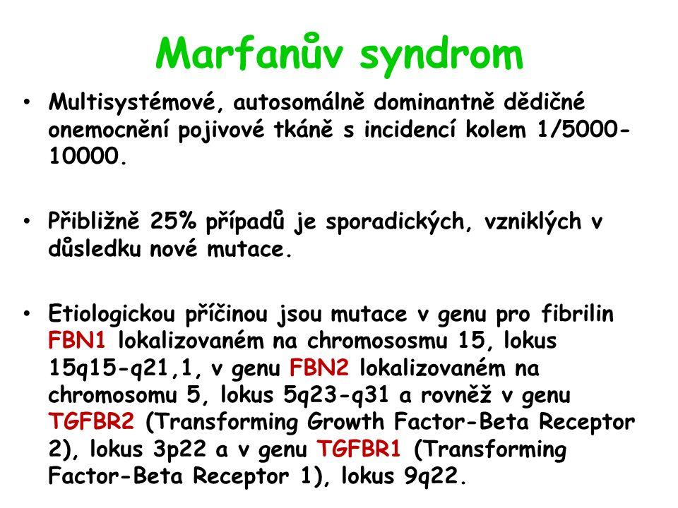 Marfanův syndrom Multisystémové, autosomálně dominantně dědičné onemocnění pojivové tkáně s incidencí kolem 1/5000- 10000.