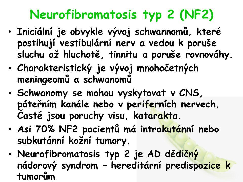 Neurofibromatosis typ 2 (NF2) Iniciální je obvykle vývoj schwannomů, které postihují vestibulární nerv a vedou k poruše sluchu až hluchotě, tinnitu a poruše rovnováhy.
