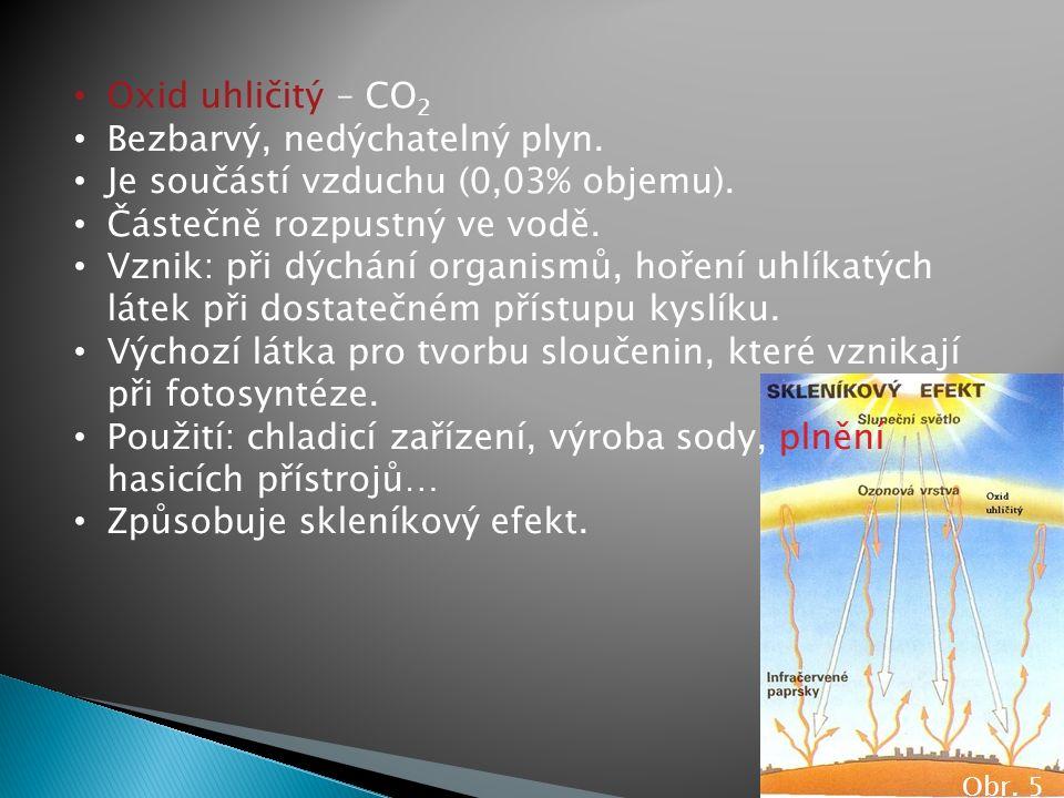 Obr. 5 Oxid uhličitý – CO 2 Bezbarvý, nedýchatelný plyn. Je součástí vzduchu (0,03% objemu). Částečně rozpustný ve vodě. Vznik: při dýchání organismů,