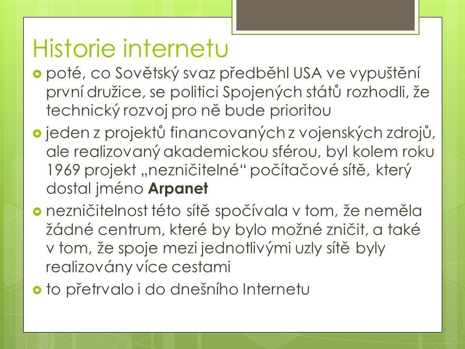 Historie internetu  poté, co Sovětský svaz předběhl USA ve vypuštění první družice, se politici Spojených států rozhodli, že technický rozvoj pro ně
