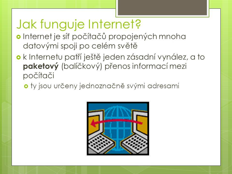 Jak funguje Internet?  Internet je síť počítačů propojených mnoha datovými spoji po celém světě  k Internetu patří ještě jeden zásadní vynález, a to
