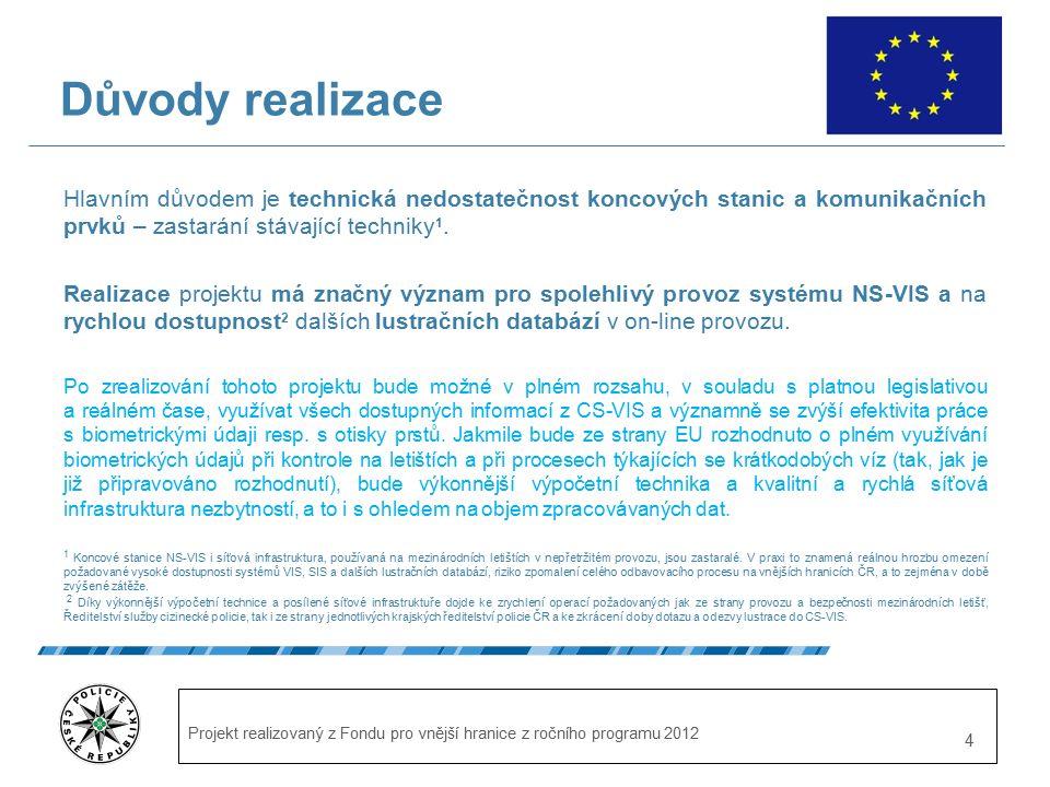 Projekt realizovaný z Fondu pro vnější hranice z ročního programu 2012 4 Důvody realizace Hlavním důvodem je technická nedostatečnost koncových stanic a komunikačních prvků – zastarání stávající techniky 1.