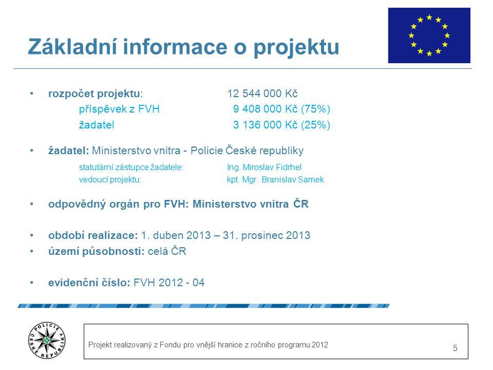 Projekt realizovaný z Fondu pro vnější hranice z ročního programu 2012 5 Základní informace o projektu rozpočet projektu: 12 544 000 Kč příspěvek z FVH 9 408 000 Kč (75%) žadatel 3 136 000 Kč (25%) žadatel: Ministerstvo vnitra - Policie České republiky statutární zástupce žadatele: Ing.