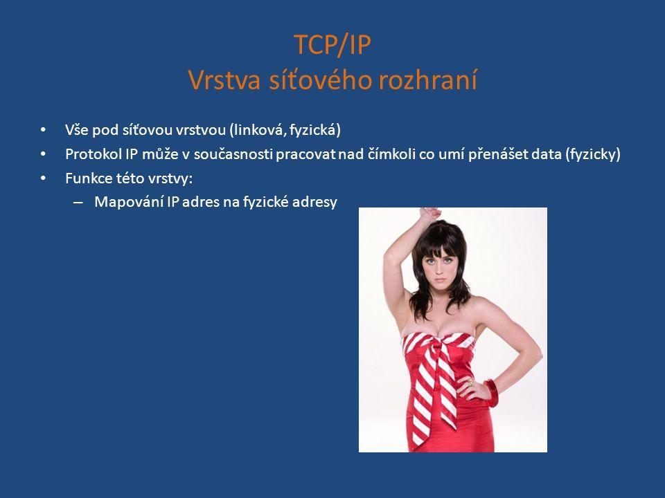 TCP/IP Vrstva síťového rozhraní Vše pod síťovou vrstvou (linková, fyzická) Protokol IP může v současnosti pracovat nad čímkoli co umí přenášet data (fyzicky) Funkce této vrstvy: – Mapování IP adres na fyzické adresy