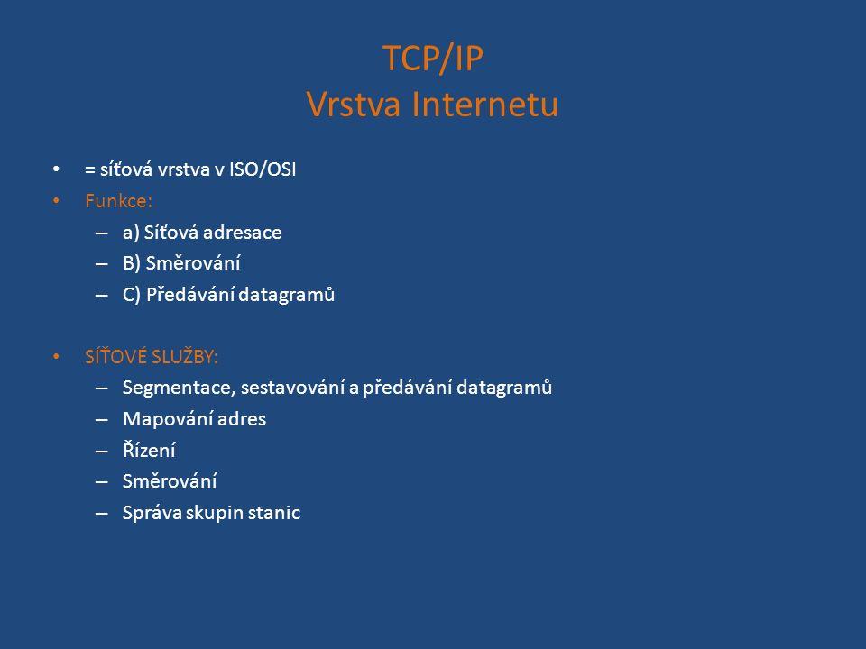 TCP/IP Vrstva Internetu = síťová vrstva v ISO/OSI Funkce: – a) Síťová adresace – B) Směrování – C) Předávání datagramů SÍŤOVÉ SLUŽBY: – Segmentace, sestavování a předávání datagramů – Mapování adres – Řízení – Směrování – Správa skupin stanic