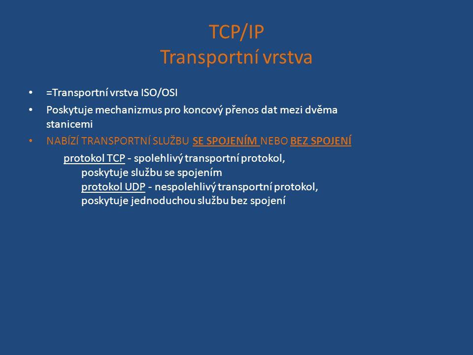 TCP/IP Transportní vrstva =Transportní vrstva ISO/OSI Poskytuje mechanizmus pro koncový přenos dat mezi dvěma stanicemi NABÍZÍ TRANSPORTNÍ SLUŽBU SE SPOJENÍM NEBO BEZ SPOJENÍ protokol TCP - spolehlivý transportní protokol, poskytuje službu se spojením protokol UDP - nespolehlivý transportní protokol, poskytuje jednoduchou službu bez spojení