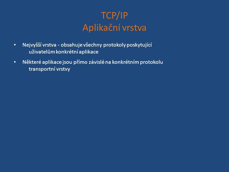 TCP/IP Aplikační vrstva Nejvyšší vrstva - obsahuje všechny protokoly poskytující uživatelům konkrétní aplikace Některé aplikace jsou přímo závislé na konkrétním protokolu transportní vrstvy